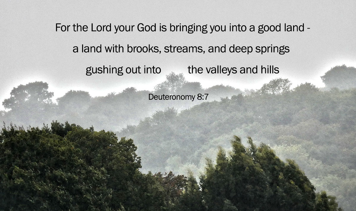 God bringing you into a good land - Deuteronomy 8.7